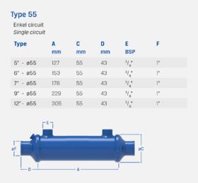 "9"" - Type 55 - Enkel circuit - Oliekoeler / Warmtewisselaar"
