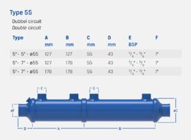 """5"""" + 7"""" - Type 55 - Dubbel circuit - Oliekoeler / Warmtewisselaar"""