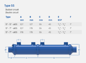 """7"""" + 7"""" - Type 55 - Double circuit - Oil cooler / heat exchanger"""