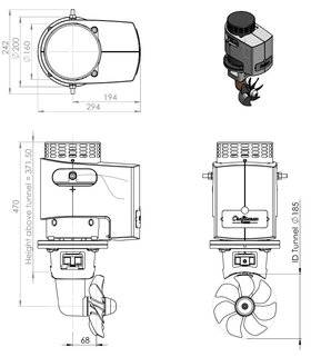 Craftsman Marine hekschroef 115kgf 24V