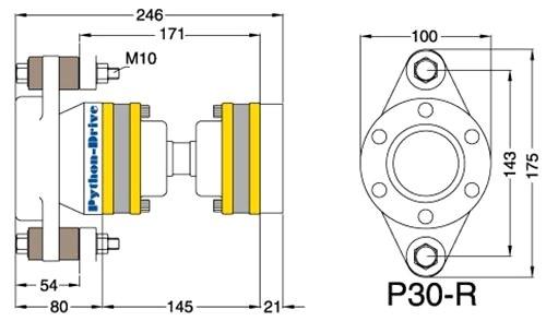 Python Drive P30-R doorsnede