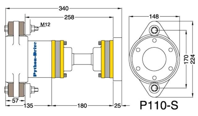 Python Drive P110-S Dwarsdoorsnede