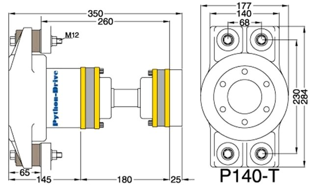 Cross-section Python Drive P140-T