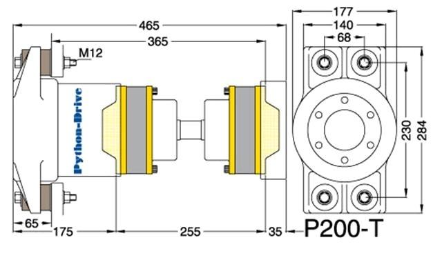 Python Drive P200-T Dwarsdoorsnede