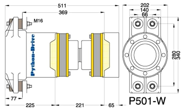Cross-section Python Drive P501-W